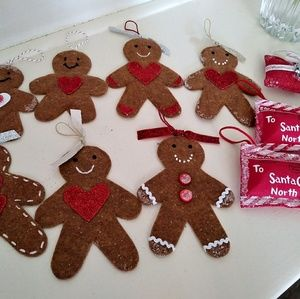 10 Felt Christmas Gingerbread Man Ornaments